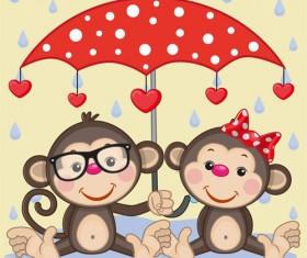Cute animals and umbrella cartoon vector 18