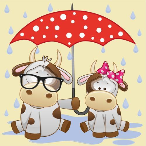 Cute animals and umbrella cartoon vector 19