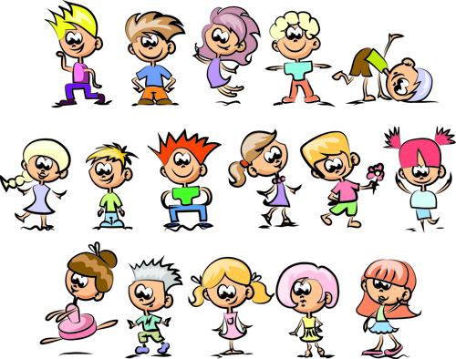 cute children cartoon styles vector 03 - Free Children Cartoon