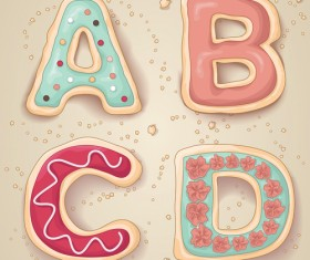 Cute cookies with letters vector set 01