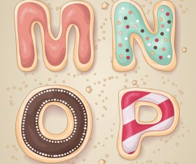Cute cookies with letters vector set 04