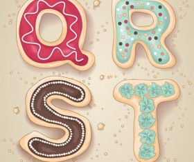 Cute cookies with letters vector set 05