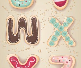 Cute cookies with letters vector set 06