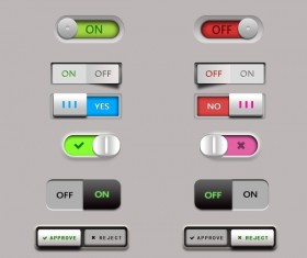 Different Switch UI buttons psd material