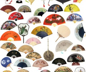 Different chinese folding fan PSD