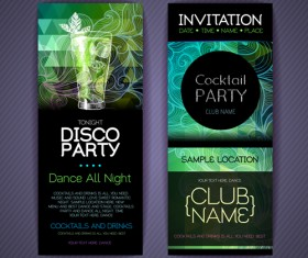 Disco party night invitation cards vector 01