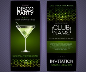 Disco party night invitation cards vector 02