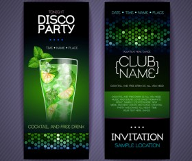 Disco party night invitation cards vector 03