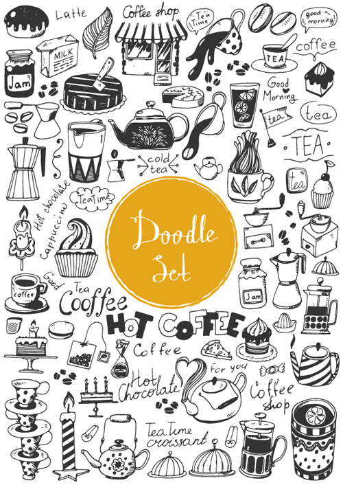 Doodle material vector set 02