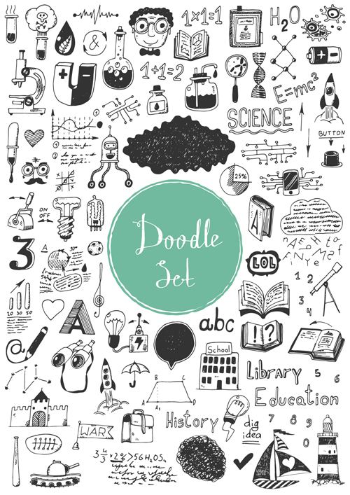 Doodle material vector set 04
