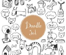 Doodle material vector set 07