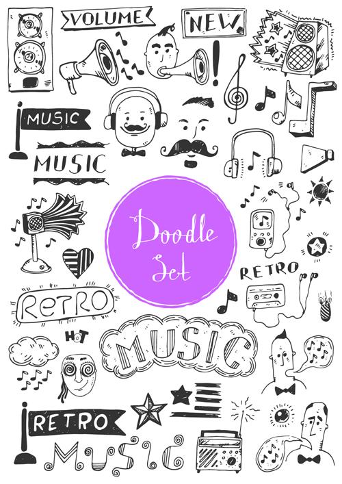 Doodle material vector set 10