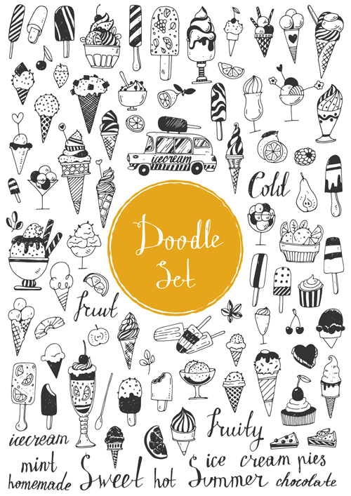 Doodle material vector set 12