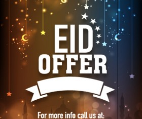Eid special offer sale flyer vector set 02
