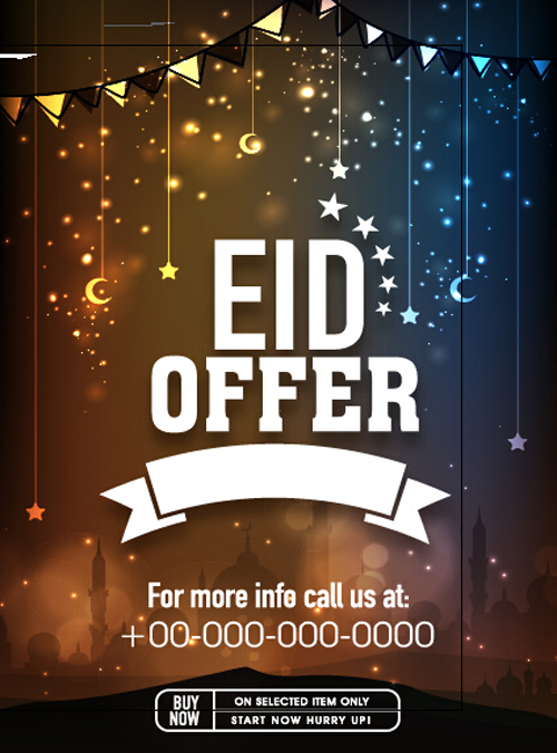 Eid special offer sale flyer vector set 02