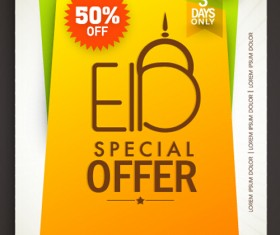 Eid special offer sale flyer vector set 03