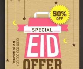 Eid special offer sale flyer vector set 04