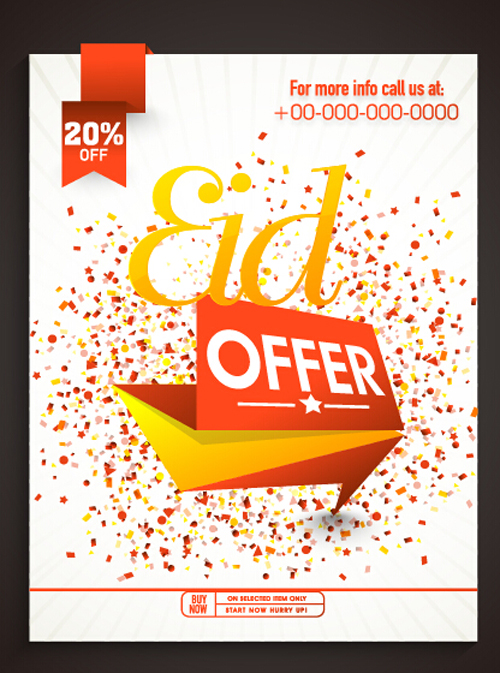 Eid special offer sale flyer vector set 05