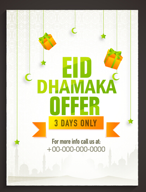 Eid special offer sale flyer vector set 06