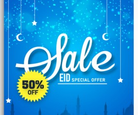 Eid special offer sale flyer vector set 07