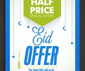 Eid special offer sale flyer vector set 08