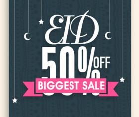 Eid special offer sale flyer vector set 10