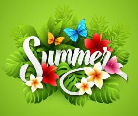 Exquisite butterflies with flowers summer vector background 02
