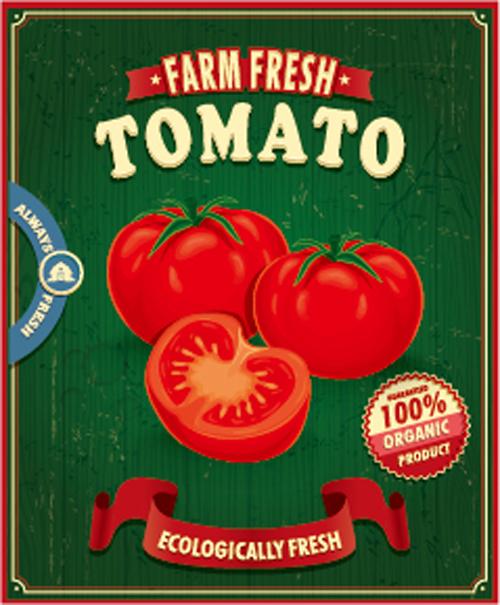 farm fresh food poster vintage vector 04 free download