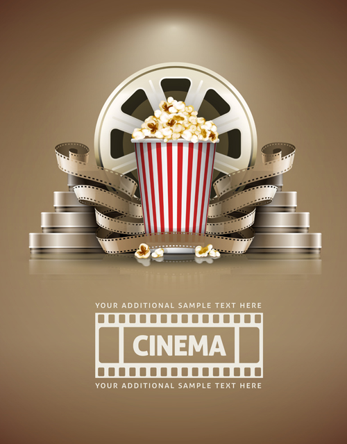 Film With Popcorn Cinema Poster Vector 01 Free Download