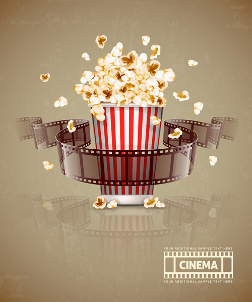 film with popcorn cinema poster vector 03