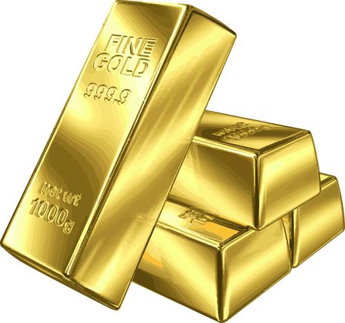 Fine Gold bullion design vector set 01