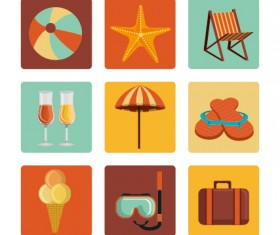 Flat styles summer holiday vintage icons set