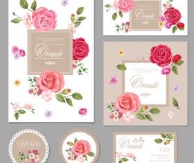 Flower vintage cards kit vector 01