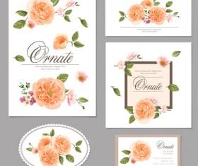 Flower vintage cards kit vector 02