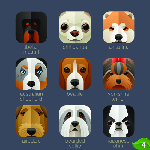 Funny animal icons flat style vector 03