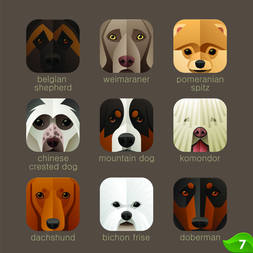 Funny animal icons flat style vector 04