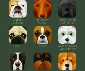 Funny animal icons flat style vector 05