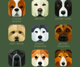 Funny animal icons flat style vector 06