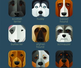 Funny animal icons flat style vector 07