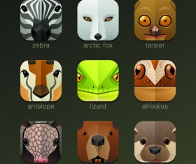 Funny animal icons flat style vector 08