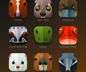 Funny animal icons flat style vector 09