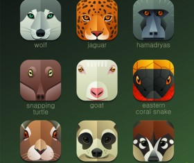 Funny animal icons flat style vector 11