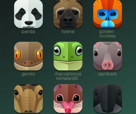 Funny animal icons flat style vector 12