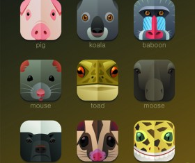 Funny animal icons flat style vector 13