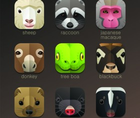 Funny animal icons flat style vector 14
