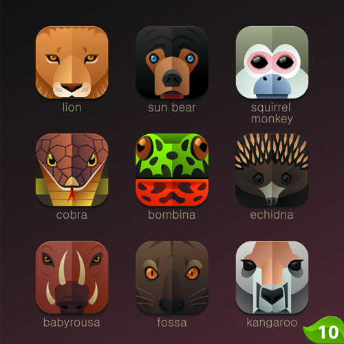 Funny animal icons flat style vector 15