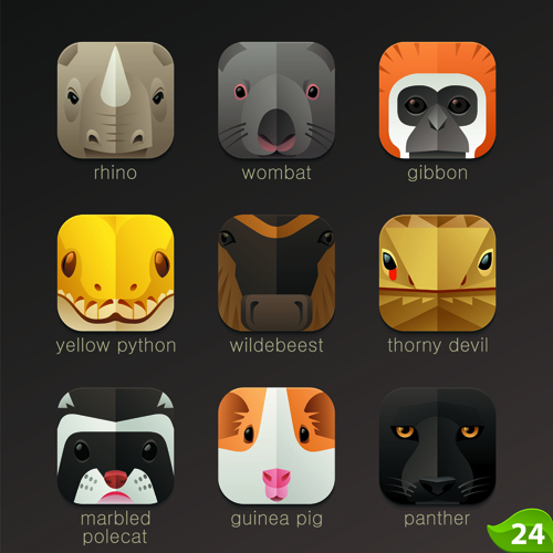 Funny animal icons flat style vector 17