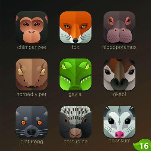 Funny animal icons flat style vector 18