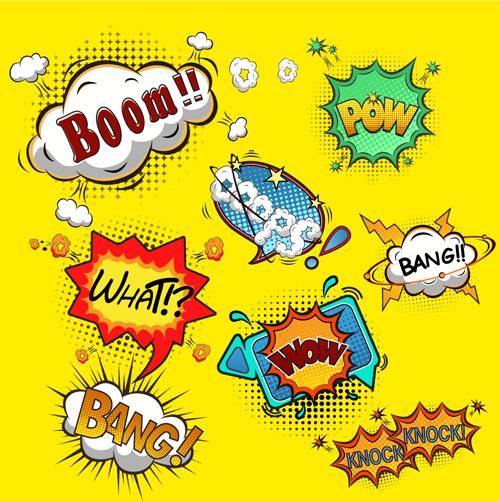 Funny speech bubbles comic styles vectors 01