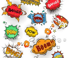 Funny speech bubbles comic styles vectors 03
